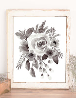 Wall art watercolor painting of a floral bouquet, monochromatic shades of grey