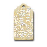 hand painted wooden gift tag that say For the bride to be with floral illustrations in white