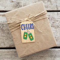 Cheers Hand Painted Wooden Gift Tag