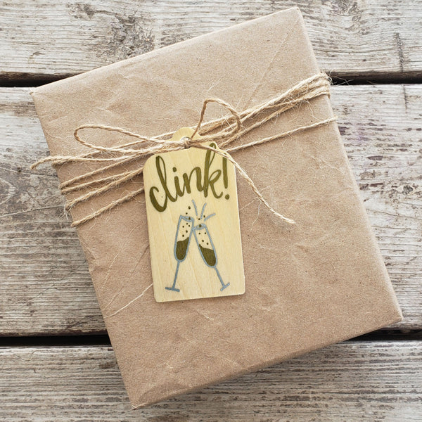 Clink Hand Painted Wooden Gift Tag