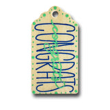 Congrats Hand Painted Wooden Gift Tag