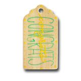 hand painted wooden gift tag that says congrats in green and yellow with yellow dots