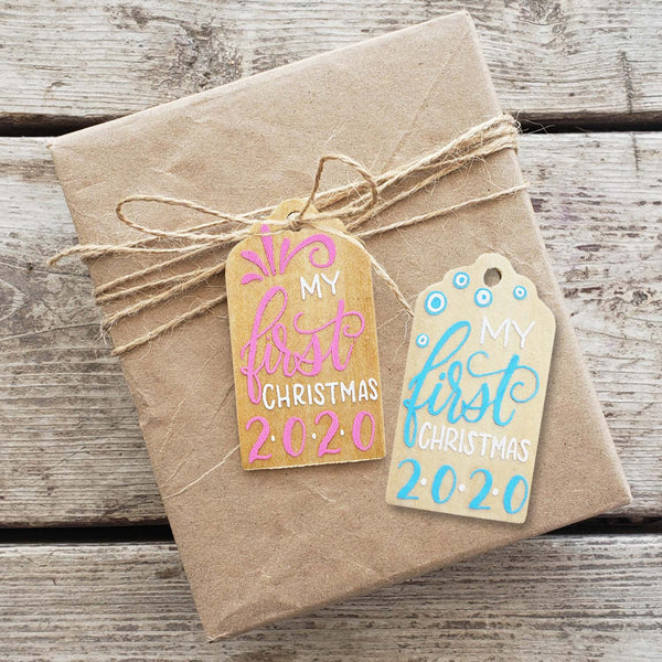First Christmas Hand Painted Wooden Gift Tag
