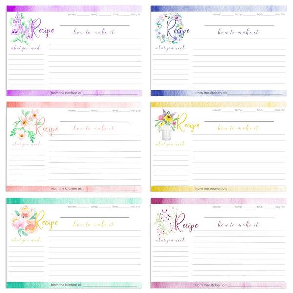 Set of 12 floral watercolor recipe cards showing a range of garden and wild flowers.