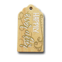 hand painted wooden gift tag that says happily ever after in gold and white