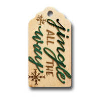 Jingle All The Way Hand Painted Wooden Gift Tag