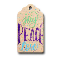 Joy Peace Love Hand Painted Wooden Gift Tag