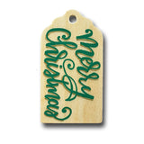 hand painted wooden gift tag  that says merry christmas in green and gold
