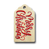 hand painted wooden gift tag that says merry christmas in red and gold