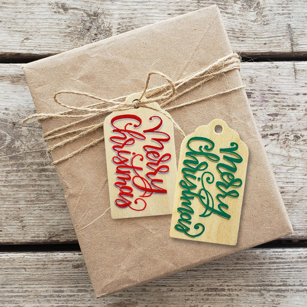 Merry Christmas Hand Painted Wooden Gift Tag