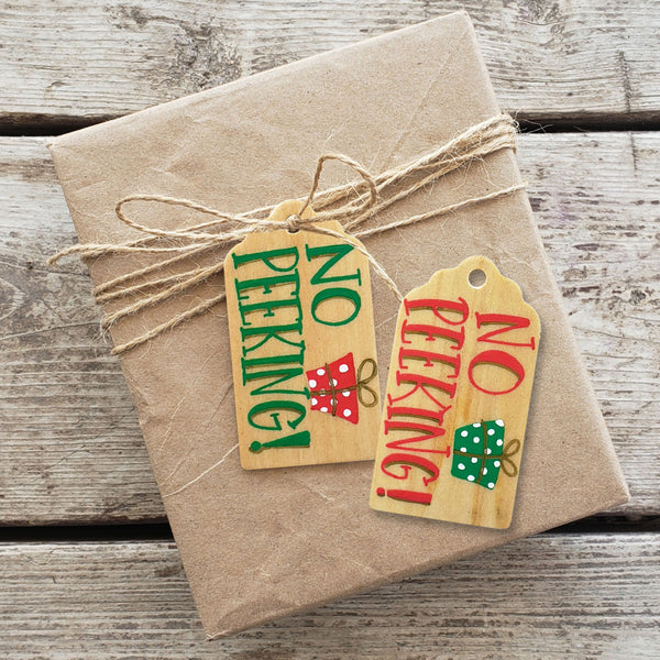 No Peeking Hand Painted Wooden Gift Tag