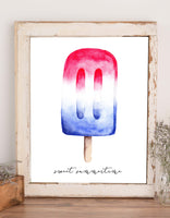 Wall art of a red white and blue popsicle and says sweet summertime in black
