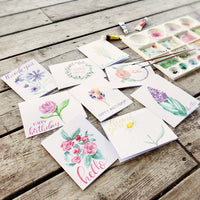 Hand Painted Floral Watercolor Notecard Set
