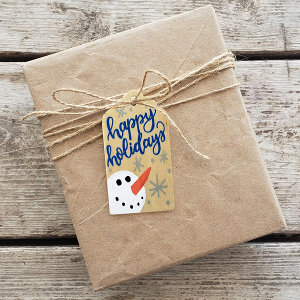 Happy Holidays Hand Painted Wooden Gift Tag