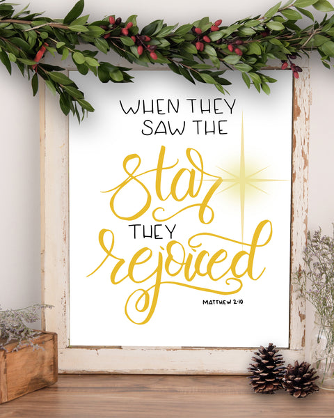 Wall art that says when they saw the star they rejoiced in black and gold with the golden northern star