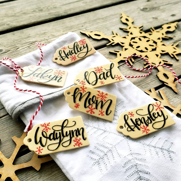 Christmas Stocking Wooden Name Tag