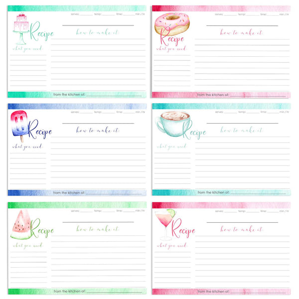 Set of 12 watercolor food recipe cards including cake, donut, patriotic popsicle, coffee mug, slice of watermelon and cocktail with a slice of lime.