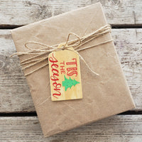 Tis The Season Hand Painted Wooden Gift Tag