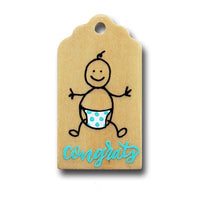 hand painted wooden gift tag with a doodled baby with diaper and says congrats in mint