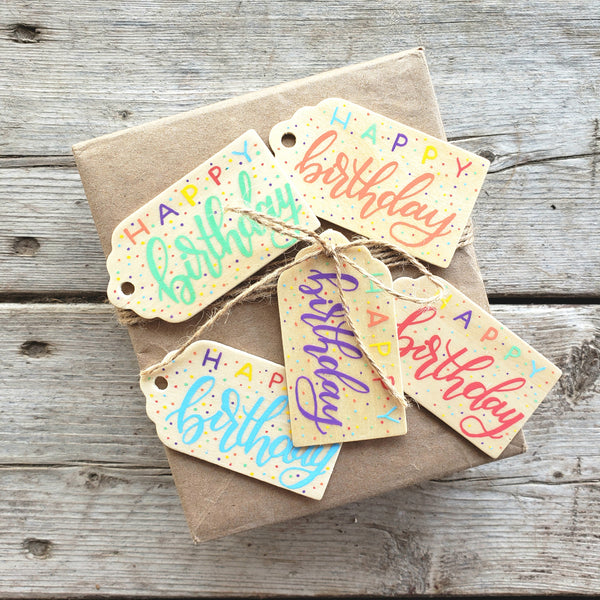 Happy Birthday Confetti Hand Painted Wooden Gift Tag Set