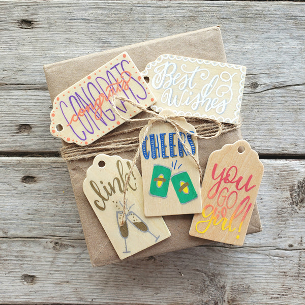 hand painted wooden gift tag set with 5 celebration tags