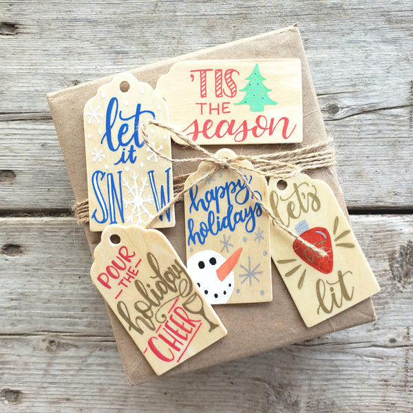 hand painted wooden gift tag set of 5 for holiday packages