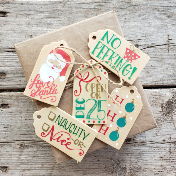 hand painted wooden gift tag set of 5 for children and christmas morning all in classic red and green