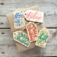 hand painted wooden gift tag set of 5 with traditional christmas messages written in modern calligraphy