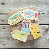 hand painted wooden gift tag set of 5 tags for all and every occasion