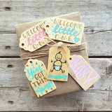 hand painted wooden gift tag set of 5 for new babies in pink, mint and purple