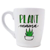 16 oz hand painted white ceramic coffee mug that says Plant Mama in black and green hand lettering with a doodle of a green succulent in a white pot