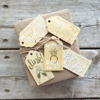 Hand Painted wooden gift tag set with 5 gift tags for wedding, bridal shower, engagement, bachelorette gifts