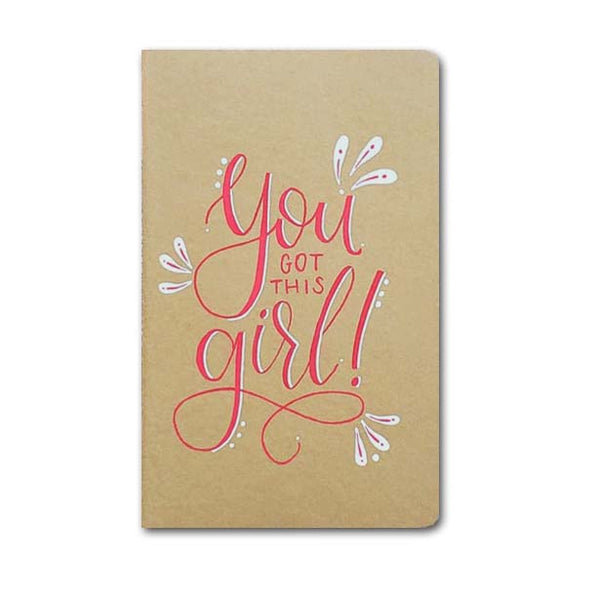 hand painted journal that says you got this girl in red and white with doodles and dots