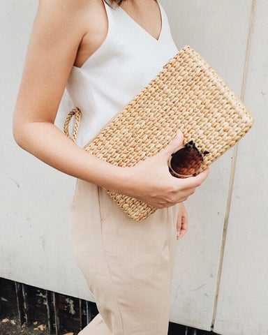 hand woven straw clutch bag | Olive & Iris