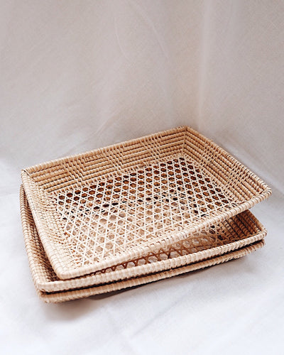 Belle Hand Woven Rattan Plate | Olive & Iris