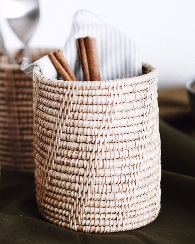 Rattan Utensil Holder - Olive and Iris