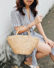 Hand woven water hyacinth basket bag, straw bag, summer bag, beach bag - Olive and Iris