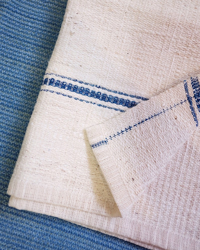 White Handwoven Organic Cotton Hand Towel with Dark Blue Stripe