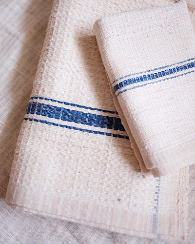 Handwoven Organic Cotton Waffle Towel Set - White