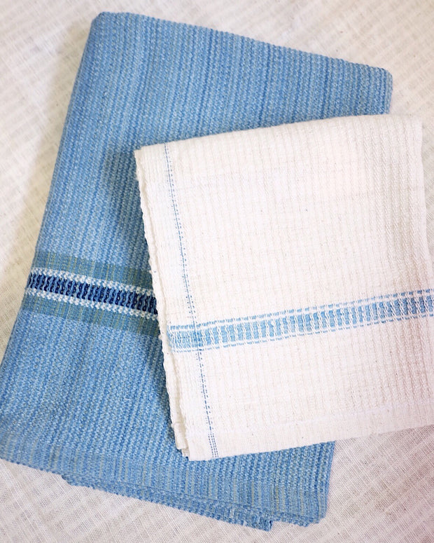 Handwoven Organic Cotton Waffle Towel Set - Blue