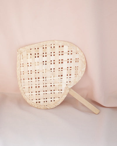 Heart Straw Hand Fan No.4 | Olive & Iris