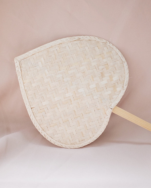 Heart Straw Hand Fan No.2 | Olive & Iris