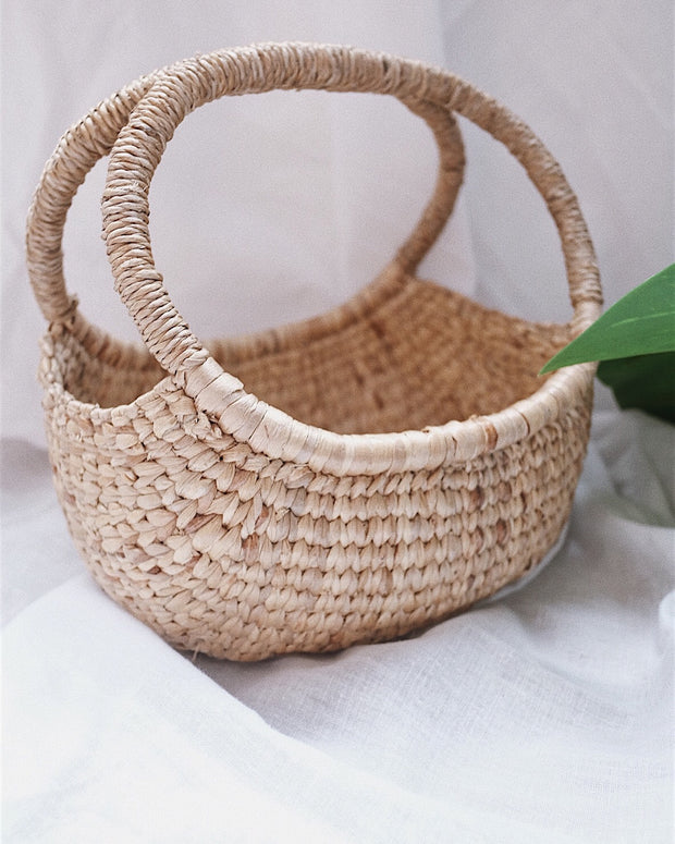 Hand woven water hyacinth basket - Olive and Iris