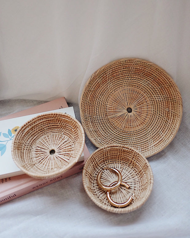Handwoven Rattan Plate & Bowls Holiday Set - Save $10