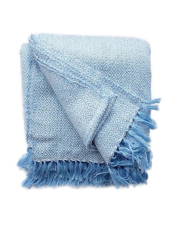 Large Marble Hand Woven Throw - Blue | Olive & Iris