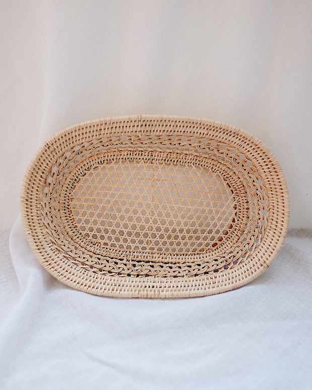 Magnolia Oval Handwoven Rattan Tray | Olive & Iris