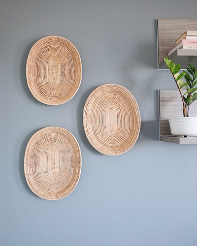 Oval Basket Wall Hanging Set No.1 | Olive & Iris