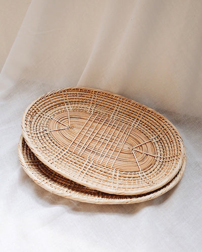 Oval Handwoven Rattan Plate/Tray | Olive & Iris