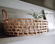 Oval Water Hyacinth Basket With Handle - Olive and Iris
