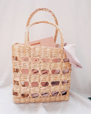 Hand woven water hyacinth basket bag, straw bag, beach bag, summer bag - Olive and Iris